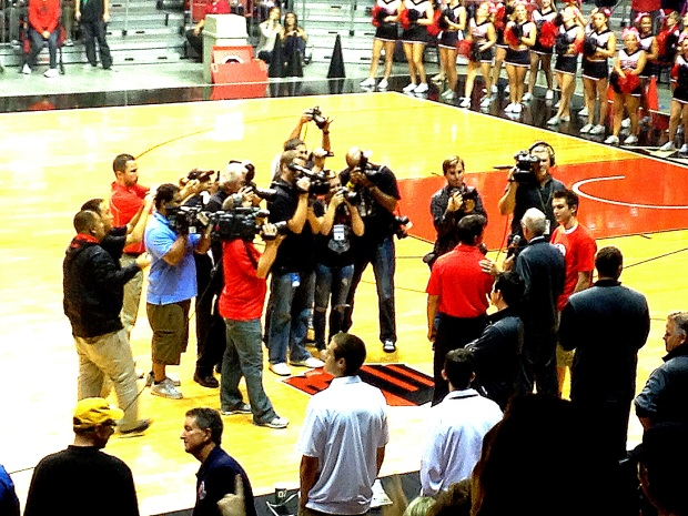 Photo Credit: CEO David Frerker. San Diego State Men's Basketball coach Steve Fisher addressing the media during midnight madness.