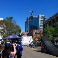 Photo Credit: Ikaika Louis FMX Freestyle Motocross Demo at Petco Park for Padres Opening Day.