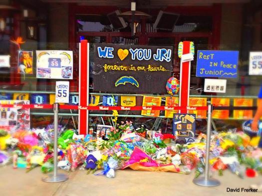 Shrine outside of Junior Seau's Restaurant after his death: Photo Credit CEO David Frerker