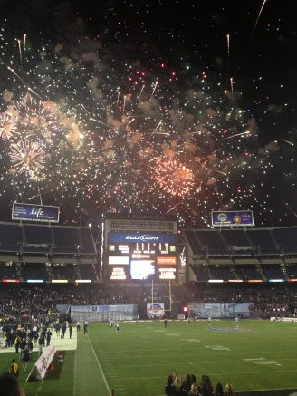 Poinsettia Bowl Halftime Fire Works Show. Mandatory Photo Credit David Frerker