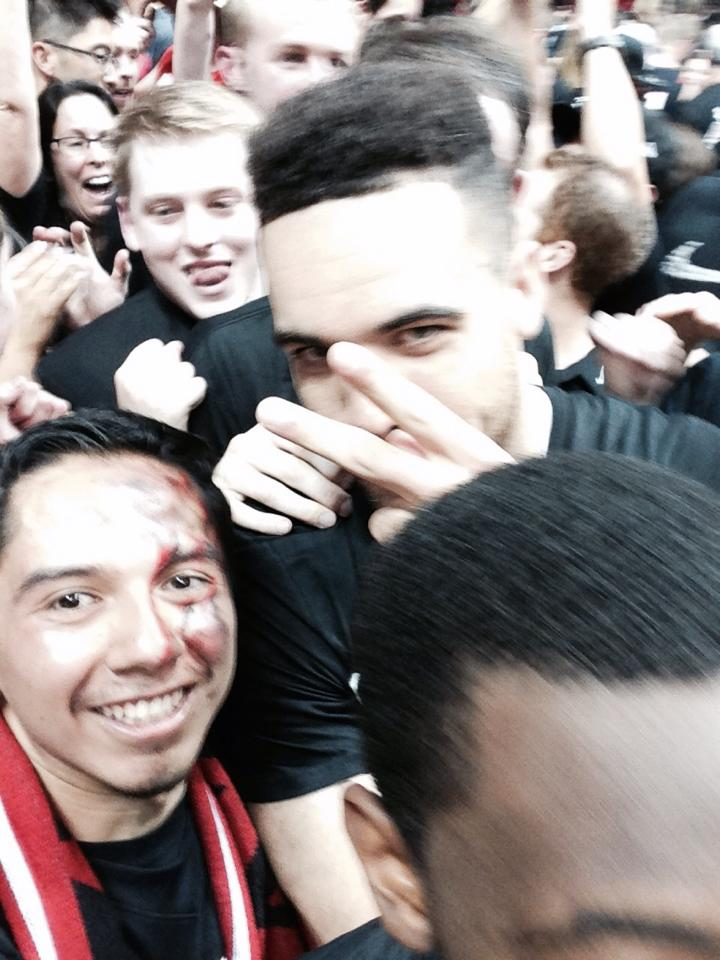 Fans with the players during the courtstorming.