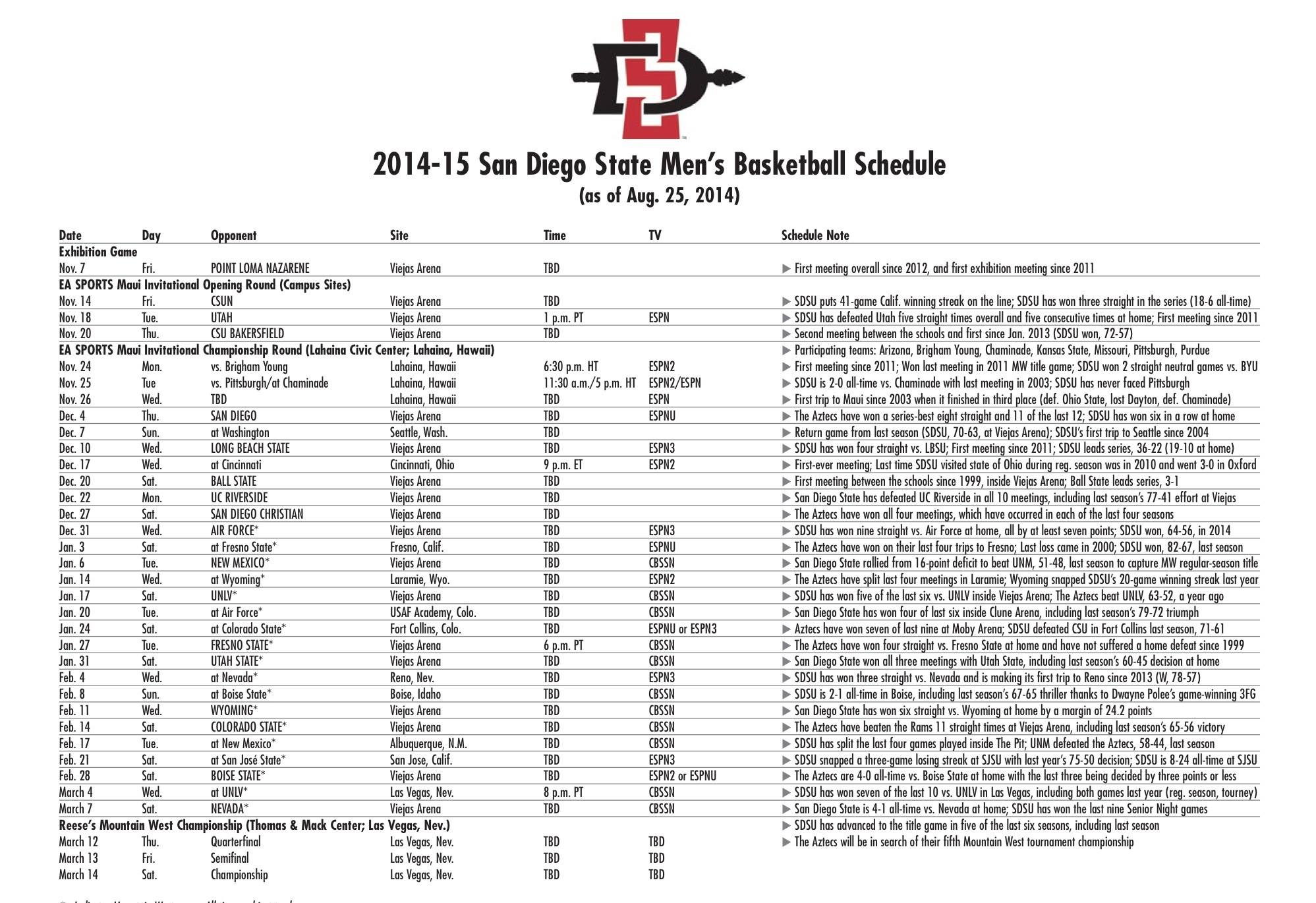 San Diego State Releases 2014/15 Men's Basketball Schedule – San