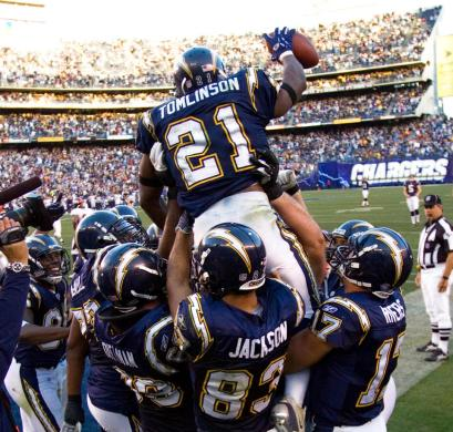 The San Diego Chargers clinch the 2006 AFC West Championship on December 10, 2006 by beating the Denver Broncos 48-20 at Qualcomm Stadium.