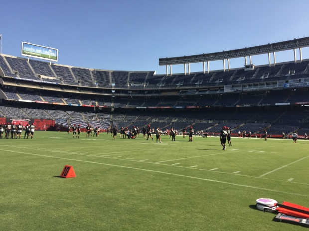 Mandatory Photo Credit: San Diego Sports Domination CEO & Founder David Frerker. Aztecs taking the field during 2015 fall practice at Qualcomm.
