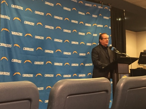 Dean Spanos speaking at the Chargers/Commerce press conference at Chargers Park on 7.28.16. Mandatory Photo Credit: San Diego Sports Domination