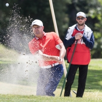 Josh Scobee chipping out of a bunker during the 2019 Celebrity Championship at Singing Hills Golf Resort. Mandatory Photo Credit: San Diego Sports Domination CEO David Frerker.
